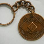 Antiqued Medallion Key Chain 44 Year Medallion Key Chain