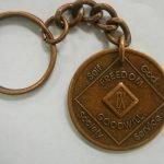 Antiqued Medallion Key Chain 42 Year Medallion Key Chain